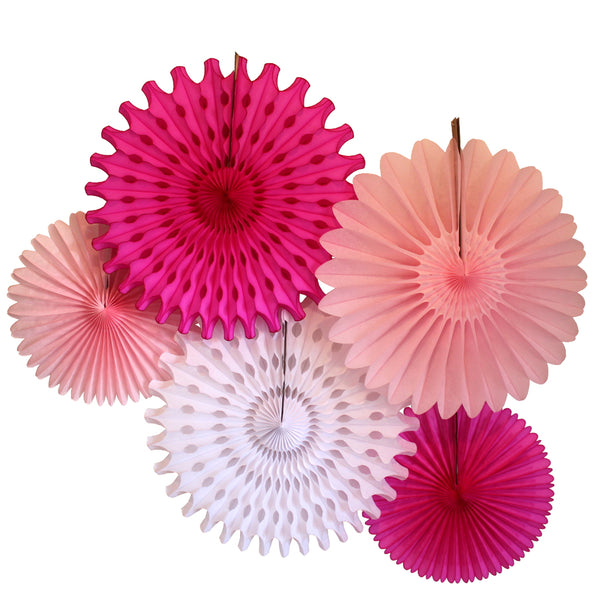 5-Piece Tissue Paper Fans, 13 & 18 Inches - Cerise White Pink