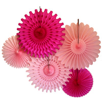 5-Piece Set of Tissue Paper Fans, 13 & 18 Inches - Pretty in Pink