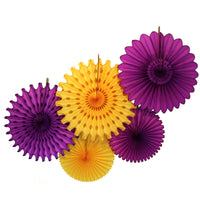 5-Piece Tissue Paper Fans, 13 & 18 Inches - Purple & Gold