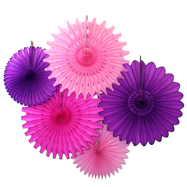 5-Piece Set of Tissue Paper Fans, 13 & 18 Inches - Purple Pink Party