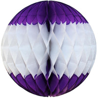 Purple & White Honeycomb Balls, 3-Pack (Assorted Sizes)