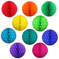 10-Piece Rainbow Themed Honeycomb Balls - MULTIPLE SIZES