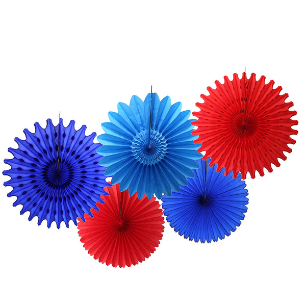 5-Piece Tissue Paper Fans, 13 & 18 Inches - Red, Dark Blue, Turquoise