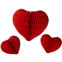3-Piece Mixed Honeycomb Hearts - 12 & 8 Inches - MULTIPLE COLORS