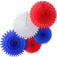 5-Piece Tissue Paper Fans, 13 & 18 Inches - Red, White, & Blue