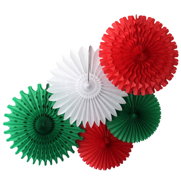 5-Piece Tissue Paper Fans, 13 & 18 Inches - Red, White, & Green