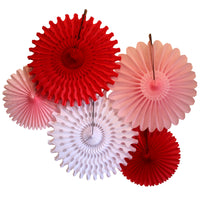 5-Piece Tissue Paper Fans, 13 & 18 Inches - Valentine Red White Pink