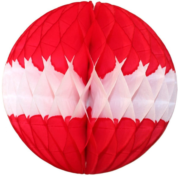 Red & White Honeycomb Balls, 3-Pack (Assorted Sizes)