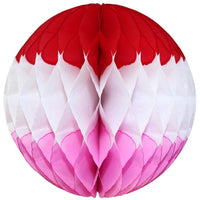 Red White Pink Honeycomb Balls, 3-Pack (Assorted Sizes)