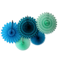 5-Piece Tissue Paper Fans, 13 & 18 Inches - Sea Breeze Turquoise Mint Teal