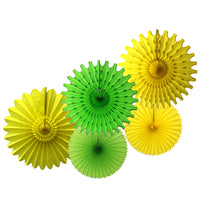 5-Piece Set of Tissue Paper Fans, 13 & 18 Inches - Spring Yellow Lime