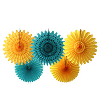 5-Piece Tissue Paper Fans, 13 & 18 Inches - Teal & Gold