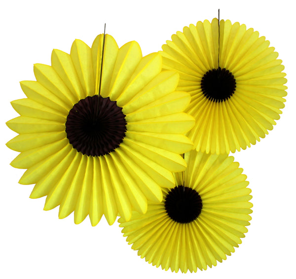 Set of 3 Sunflower Fans - 13 and 18 inch