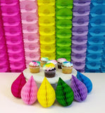 Mini 5 Inch Honeycomb Drop Decorations - 6-Pack - MULTIPLE COLORS