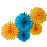 5-Piece Tissue Paper Fans, 13 & 18 Inches - Turquoise & Gold