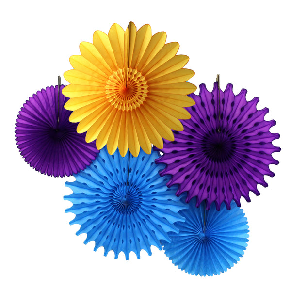 5-Piece Tissue Paper Fans, 13 & 18 Inches - Turquoise, Purple, & Gold