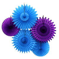 5-Piece Tissue Paper Fans, 13 & 18 Inches - Turquoise & Purple