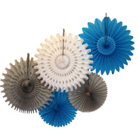 5-Piece Tissue Paper Fans, 13 & 18 Inches - Turquoise, White, & Gray