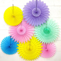 7-Piece Set of Unicorn Pastel Tissue Paper Fans, 13 & 18 Inches