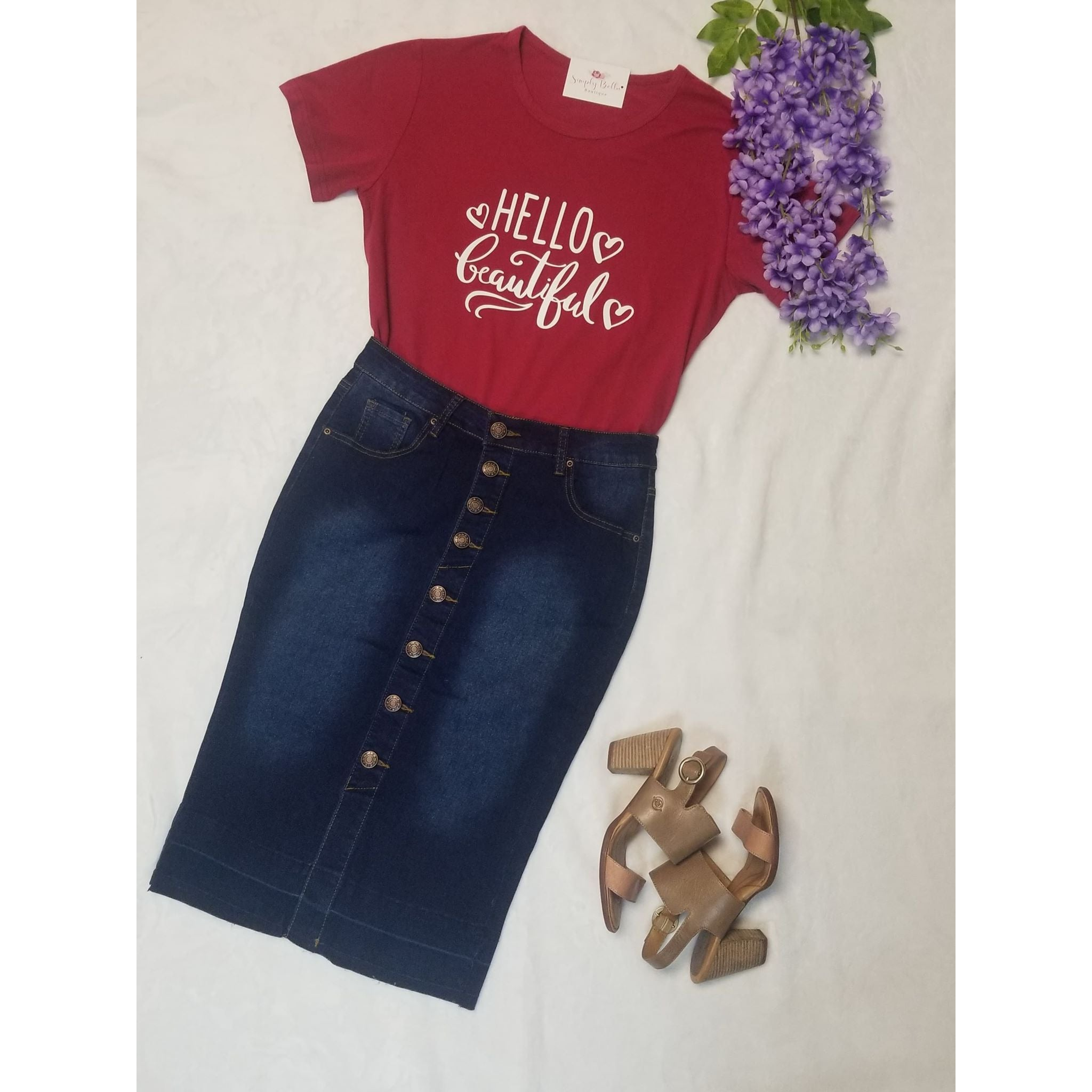 """Hello Beautiful"" in Burgundy Tee"