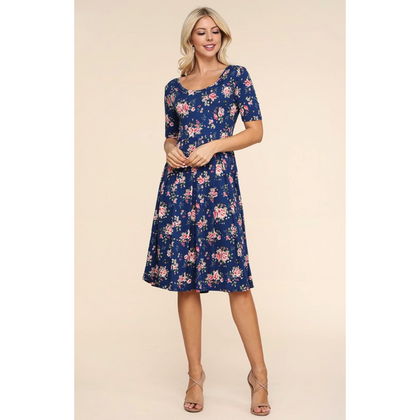 Bailey Navy Floral Empire Dress