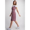 Cassie Plaid Overall Dress - Red