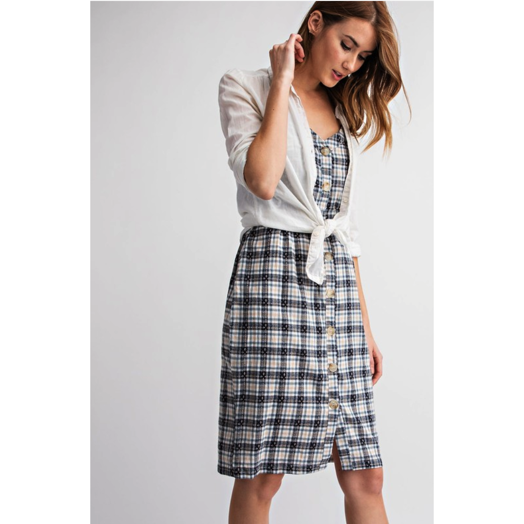 Cassie Plaid Overall Dress - Blue