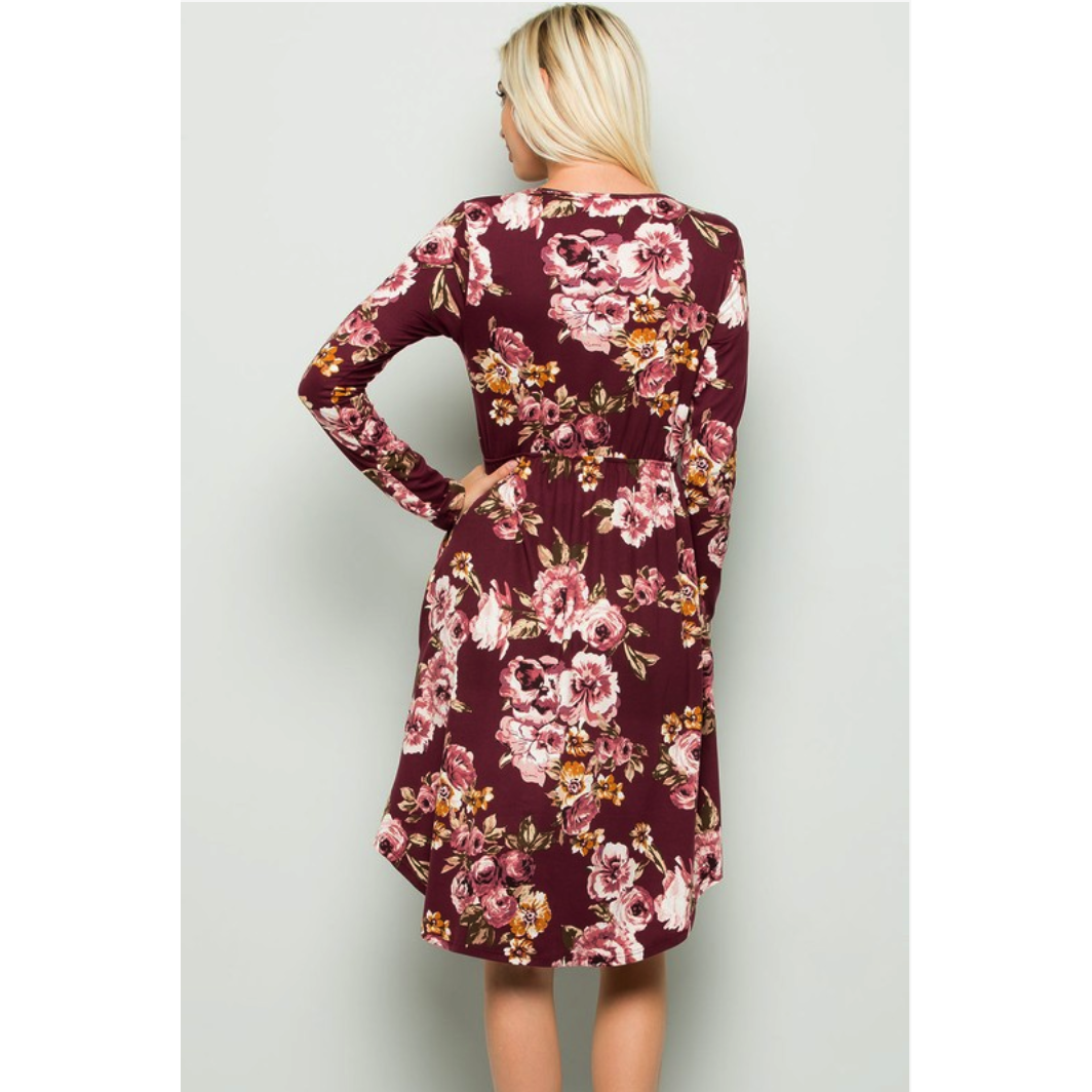 Gracie Floral Dress in Wine