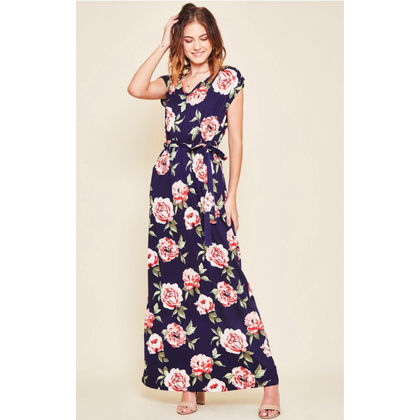 Holly Navy Floral Maxi Dress