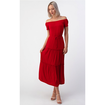 Ruby Red Tiered Maxi Dress