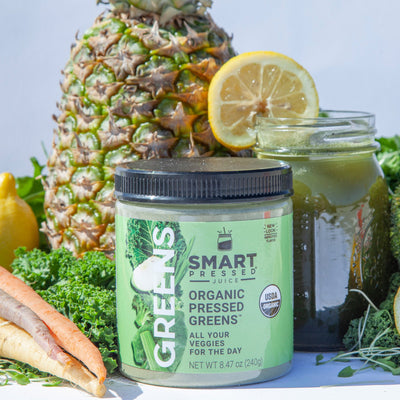 Organic Pressed Greens with fruits and vegetables