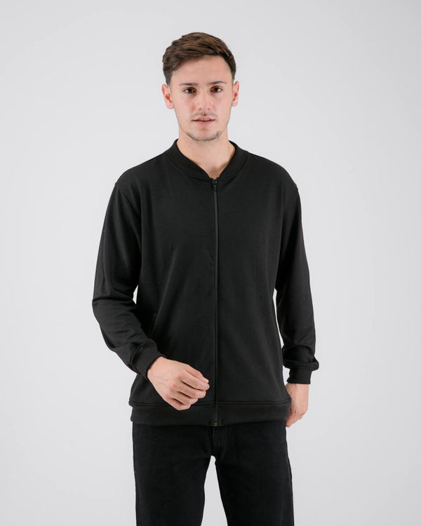 Fuzy Terry Bomber Jacket Black