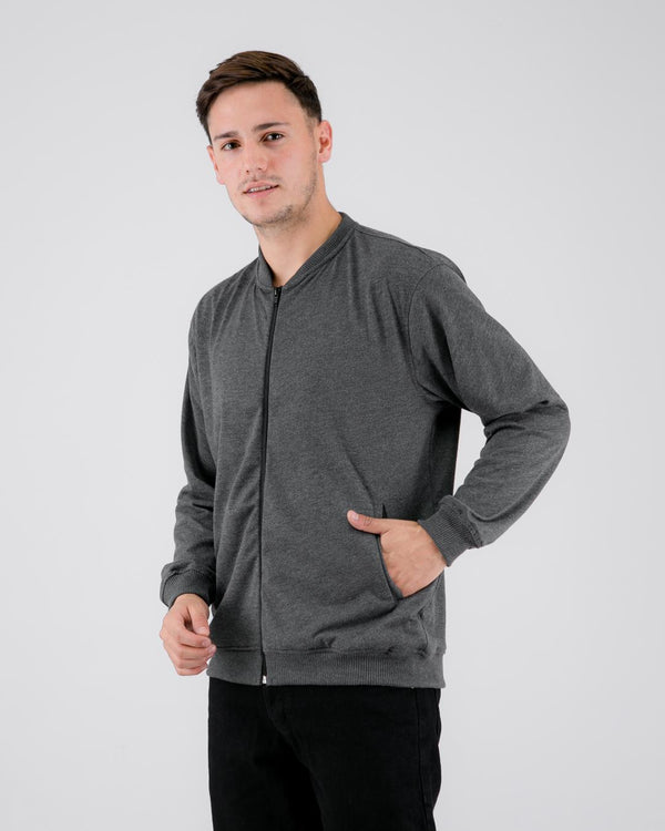 Fuzy Terry Bomber Jacket Dark Gray