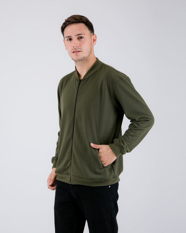 Fuzy Terry Bomber Jacket Green Army