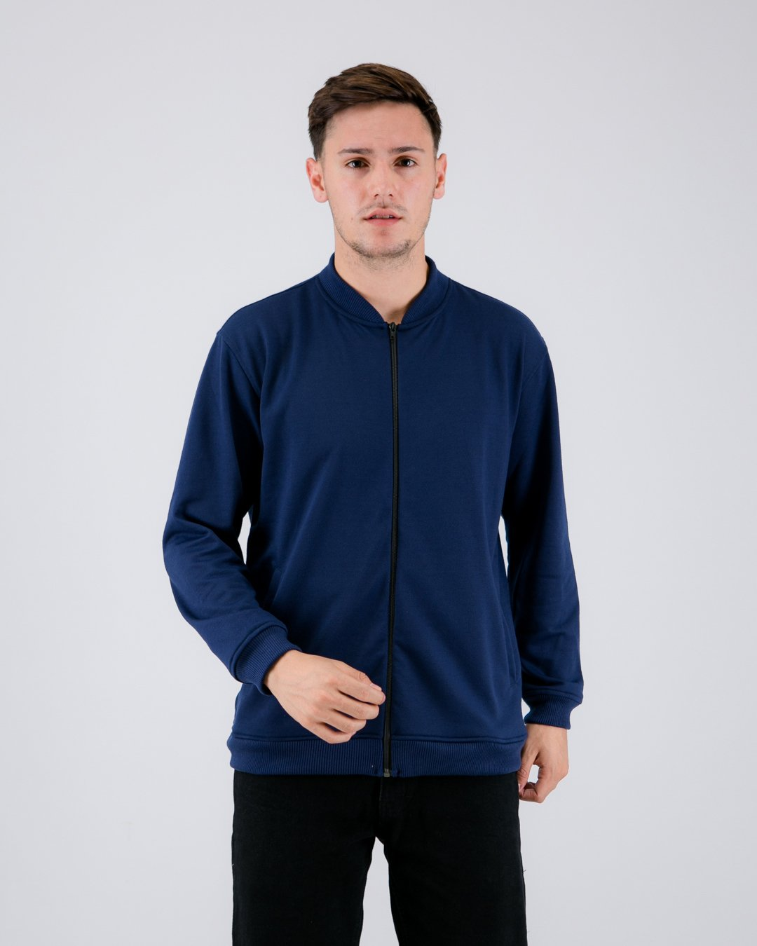 Fuzy Terry Bomber Jacket Navy
