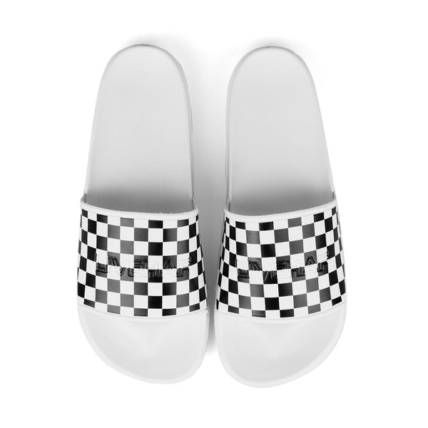 Slipper V2 Checkboard BW White