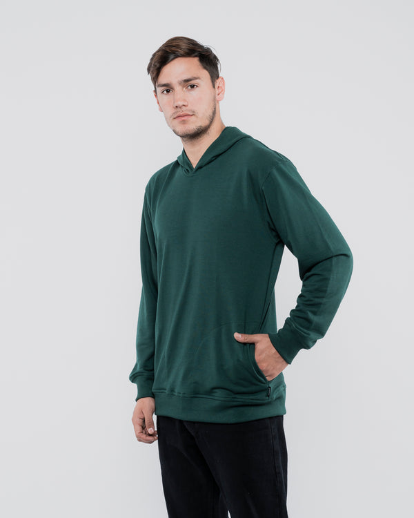 Tib Terry Hoodie Jumper Green Bottle