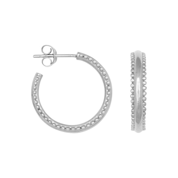DOUBLE DOTS HOOPS silver