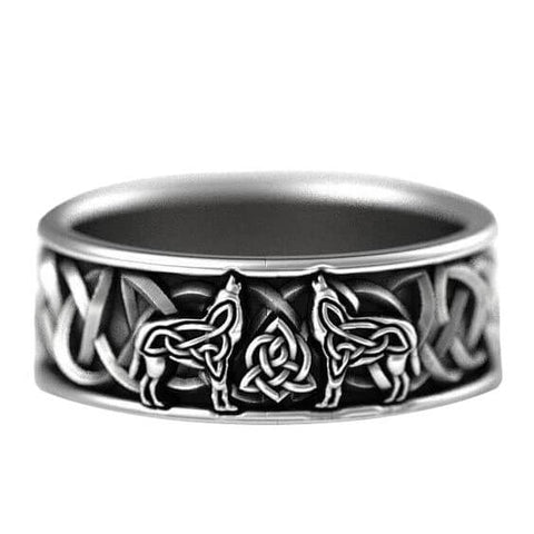 Silver wolf ring solid stainless steel band best quality