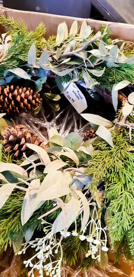Artificial Cedar, Pine Cone & Greens Wreath 24