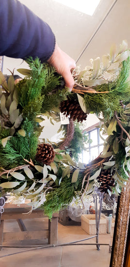 Artificial Cedar, Pine Cone & Greens Wreath 24""