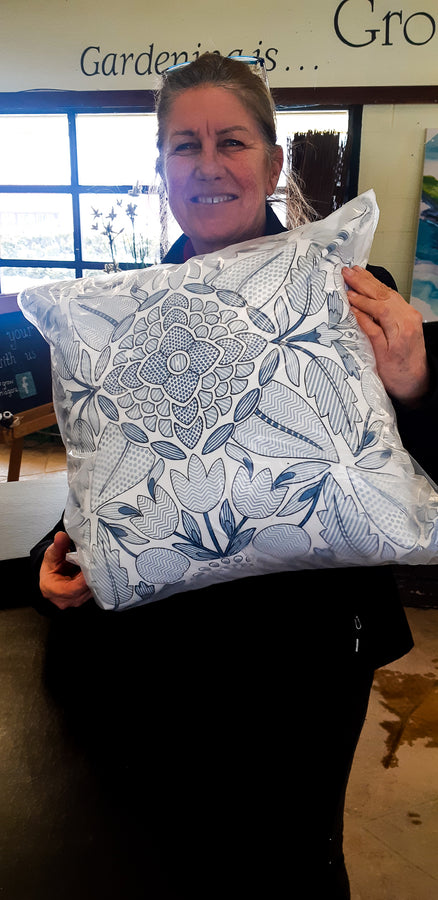 Blue Design Pillow