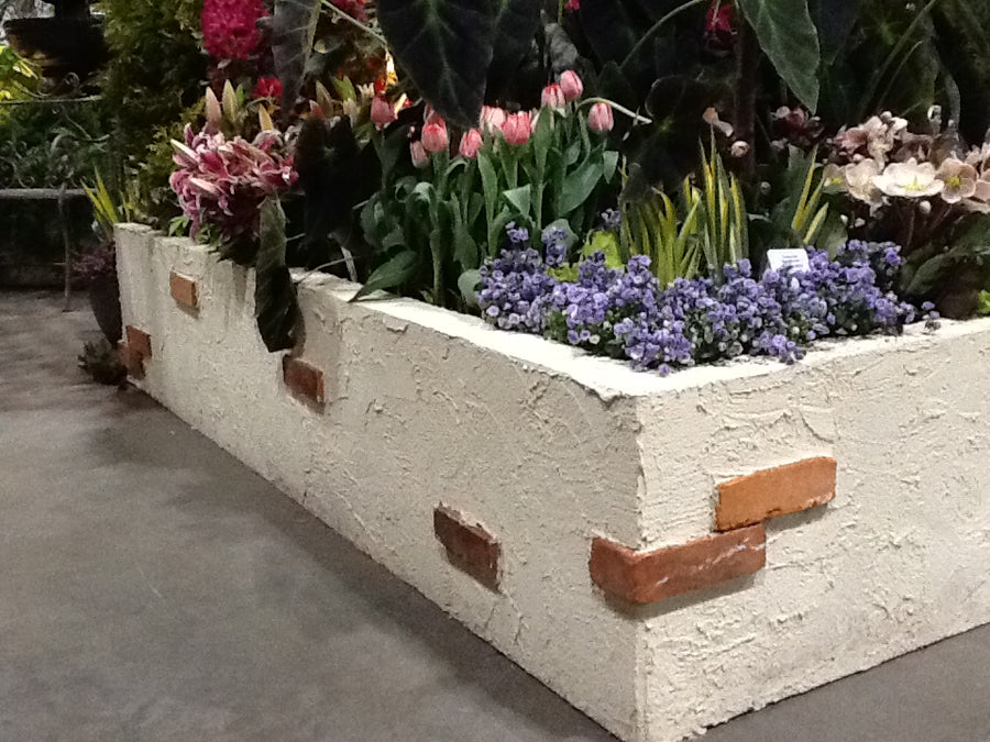 Instant Raised Boxes - Stucco Brick Wall Finish