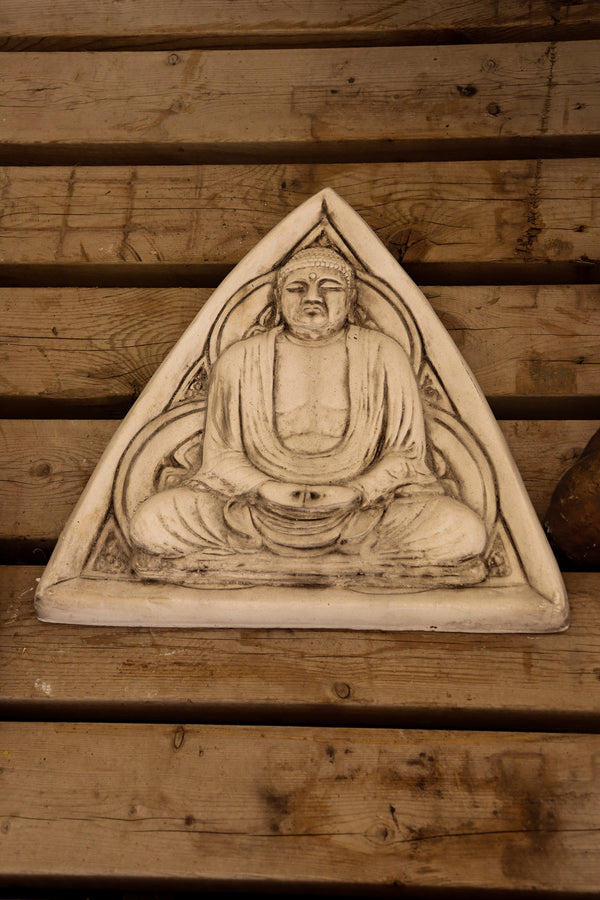 Triangle buddha sign, white