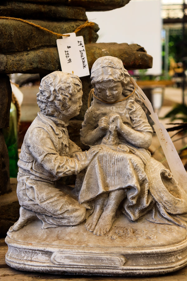 Young couple statue, white