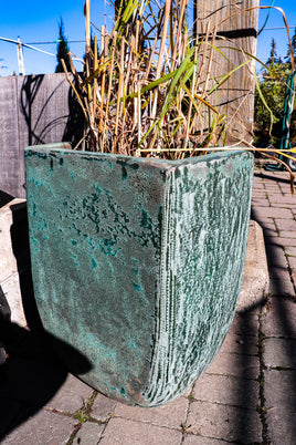 Weathered Cyan planter, square