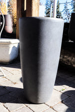Grey Artisan tall planter round