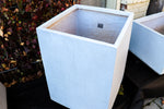 White rectangle planter, concrete