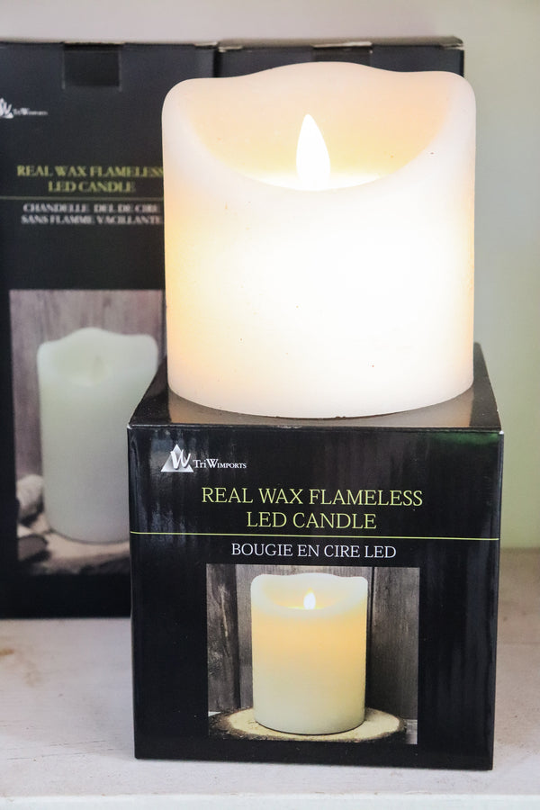 "Real wax flameless led candle 3"" x 8"""