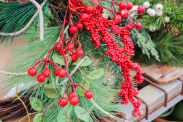 Pine Wreath with leaves and frosted red berries